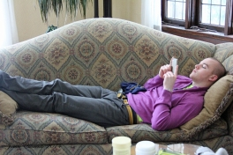Chris making himself at home
