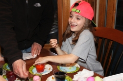 sofia coloring eggs